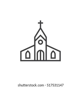 Church building line icon, outline vector sign, linear pictogram isolated on white. logo illustration
