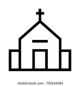 Church building simple line icon with a cross sign. Christian believers symbol illustration. Chapel house vector. Pixel perfect EPS file isolated on white background. A place for churchgoers to pray.