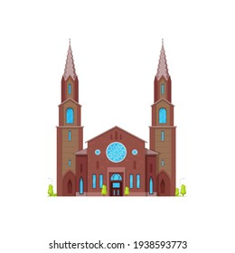 Church or cathedral medieval chapel, gothic architecture buildings, vector facade. Christian religion catholic or evangelic church chapel or temple cathedral with belfry towers