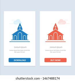 Church, Celebration, Christian, Cross, Easter  Blue and Red Download and Buy Now web Widget Card Template. Vector Icon Template background