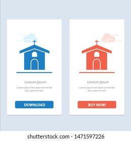 Church, Celebration, Christian, Cross, Easter  Blue and Red Download and Buy Now web Widget Card Template