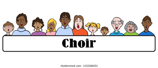 Church choir faces singing multi-ethnic group people vector