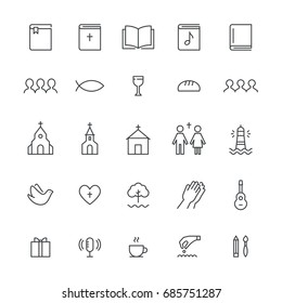 Church and Christian Community Flat Outline Icons. Vector Set.