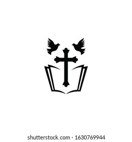 Church Christian Cross with Bible Dove logo design vector