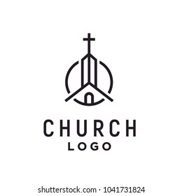 Church / Christian with line art style logo design inspiration