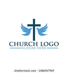 church christian logo vector icon design template. Christian symbols.