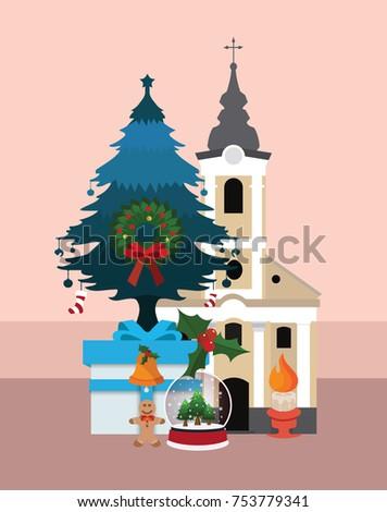 Church Christmas Tree Gifts Stock Vector (Royalty Free) 753779341 ...