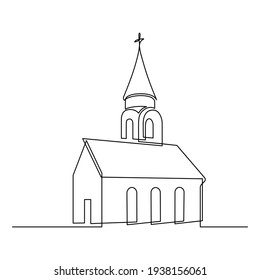 Church in continuous line art drawing style. Abstract church building with bell-tower. Minimalist black linear sketch isolated on white background. Vector illustration