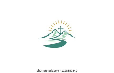 church cross christ logo icon vector