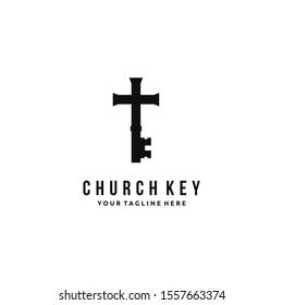 Church Cross Key with Orthodox Christian symbols. An ancient key of faith. logo design