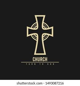 church cross logo design, icon design template elements
