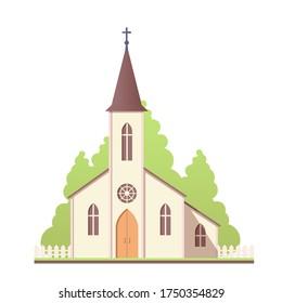 Church design icon. Catholic holy traditional symbol. Vector illustration.