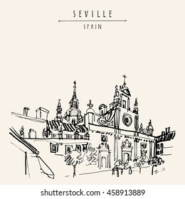 Church of El Salvador in Seville, Andalusia, Spain, Europe. Spanish historical building, Baroque style, 17-18th century.Travel sketch. Handdrawn book illustration, touristic postcard or poster. Vector