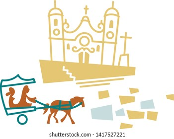 Church and horse carriage in Ouro preto, Minas Gerais