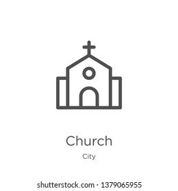 church icon. Element of city collection for mobile concept and web apps icon. Outline, thin line church icon for website design and mobile, app development