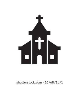 church icon glyph style design vector illustration