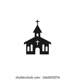 church icon isolated on white, Vector Illustration