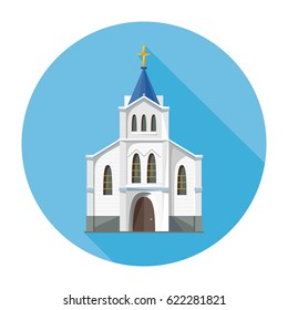 Church icon isolated on white background. Vector illustration for religion architecture design. Cartoon church building silhouette with cross, chapel. Catholic holy traditional symbol.
