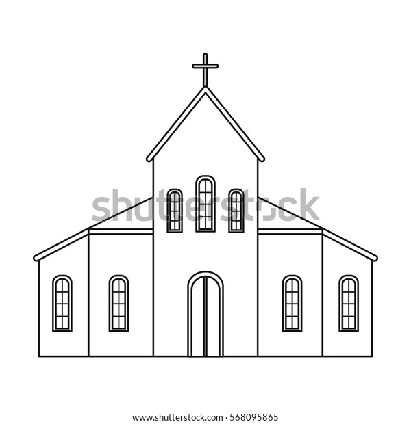 Church icon in outline style isolated on white background. Funeral ceremony symbol stock vector illustration.