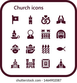 church icon set. 16 filled church icons.  Collection Of - Christian, Giralda, Marriage, Pray, Candle, Priest, Notre dame, Nun, Candles, Christianity, Church, Bible, Hallgrimskirkja