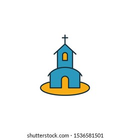 Church icon set. Four elements in diferent styles from honeymoon icons collection. Creative church icons filled, outline, colored and flat symbols.
