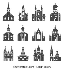 Church icon set, traditional religious spiritual building. Architecture design, building used for public Christian worship. Vector church symbols illustration