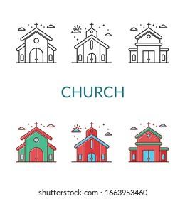 church Icon set. vector illustration