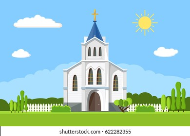 Church icon. Vector illustration for religion architecture design. Cartoon church building silhouette with cross, chapel, fence, trees. Flat summer landscape. Catholic holy traditional symbol.
