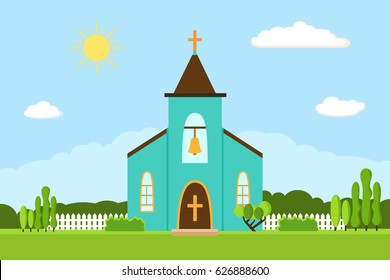 Church icon. Vector illustration for religion architecture design. Cartoon church building silhouette with cross, chapel, fence, trees, bell. Flat summer landscape. Catholic holy traditional symbol.