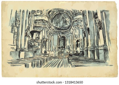 Church interior. An hand drawn vector illustration. Engraved effect. Vintage style.