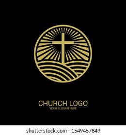 Church logo. Christian symbol. Cross of the Lord and Savior Jesus Christ