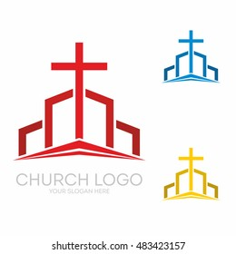 Church logo. Christian symbols. The altar and the cross of Christ.