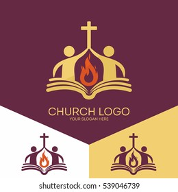 Church logo. Christian symbols. The church is based on the biblical basis and the flame of the Holy Spirit, the worship of God.