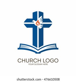 Church logo. Christian symbols. Bible, cross and Holy Spirit, dove.