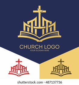 Church logo. Christian symbols. The Bible, the cross of Jesus and the Holy Spirit (a dove).