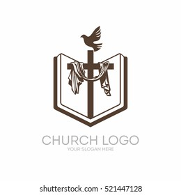 Church logo. Christian symbols. Bible, Holy Scripture, the cross of Jesus Christ and the Holy Spirit as a dove.