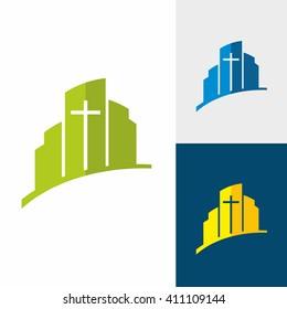 Church logo. Christian symbols. City and Jesus cross.