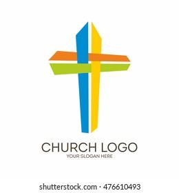 Church logo. Christian symbols. Coloring Jesus' cross.