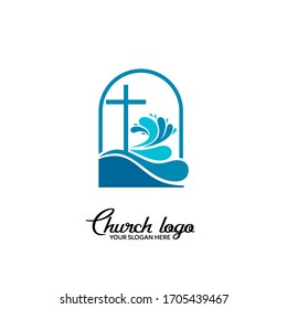 Church logo. Christian symbols. The cross of Jesus Christ and wave elements.