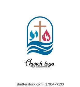 Church logo. Christian symbols. The cross of Jesus Christ, dove and flame are streams of living water.
