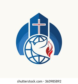 Church logo. Christian symbols. Cross, dove, flame and globe.