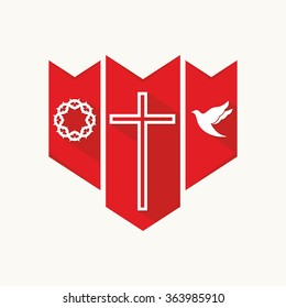 Church logo. Christian symbols. Cross, dove and crown of thorns.