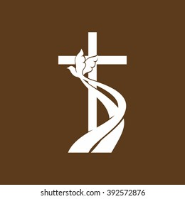 Church logo. Christian symbols. Cross and Holy spirit