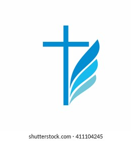 Church logo. Christian symbols. Cross and wing.