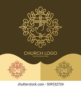 Church logo. Christian symbols. The Cross of Jesus, the Holy Spirit - Dove, elegant patterns