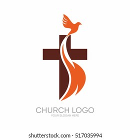 Church logo images stock photos vectors shutterstock church logo christian symbols the cross of jesus the fire of the holy altavistaventures Images