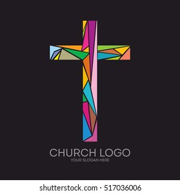 Church logo. Christian symbols. The Cross of Jesus Christ composed of colored elements.