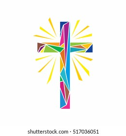 Church logo. Christian symbols. The Cross of Jesus Christ made up of colored elements, shine rays.