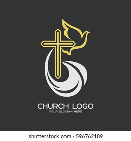 Church logo. Christian symbols. The cross of Jesus Christ and the Holy Spirit is a dove.