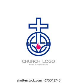 Church logo. Christian symbols. The cross of Jesus and the flame